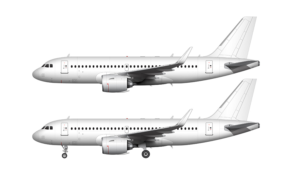 A319 NEO Pratt & Whitney engines side view