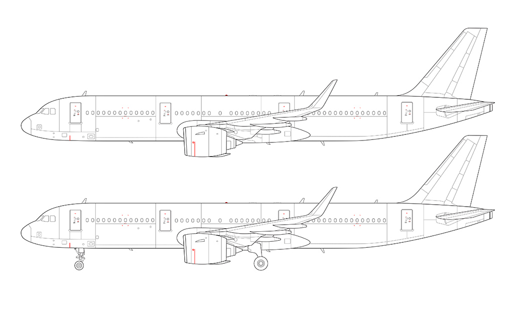 A321 NEO side view line drawing