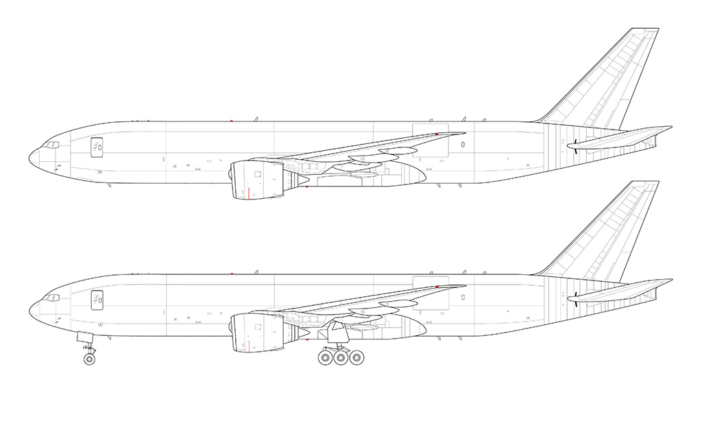 boeing 777f side view line blueprint