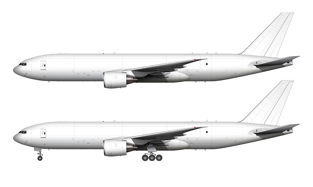 boeing 777f cargo side view