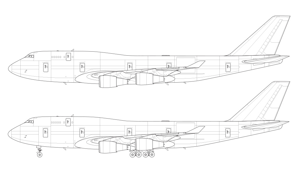 747-400BCF blueprint side view