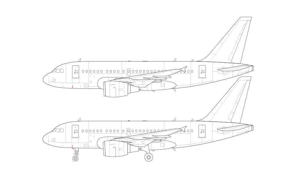 Airbus A318 side view blueprint