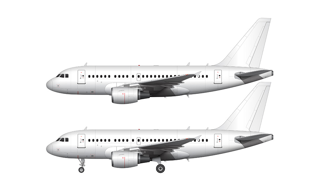 all white airbus a318 side view