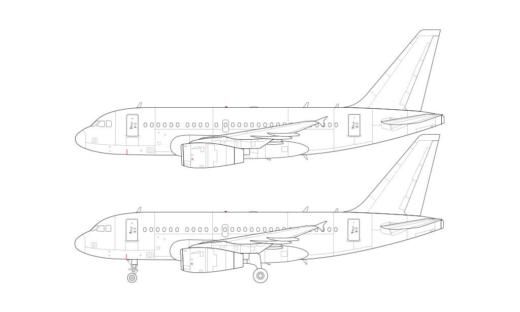 airbus a318 side profile pratt & whitney engines blueprint