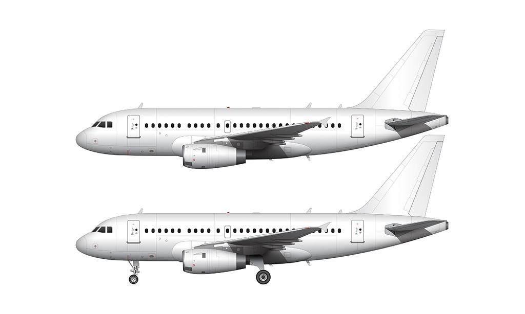 airbus a318 side profile pratt & whitney engines