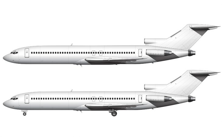 White Boeing 727 side view