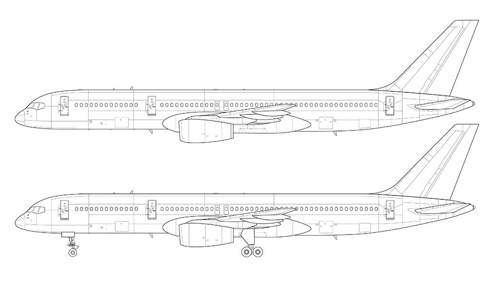 boeing 757-200 rolls royce engines side view blueprint