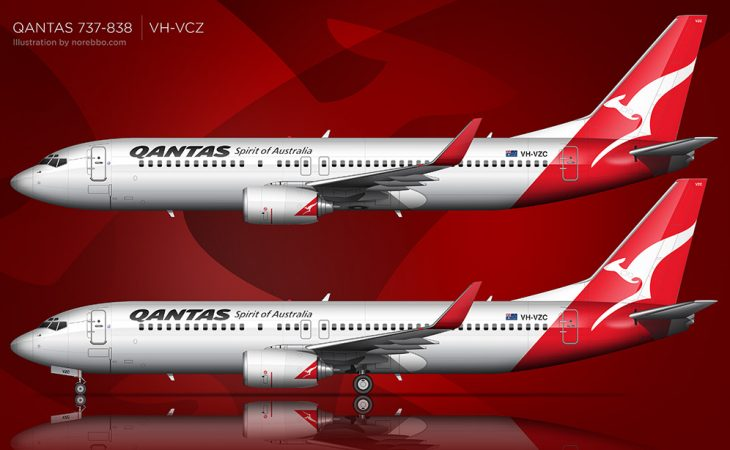 QANTAS 737-800 illustrations