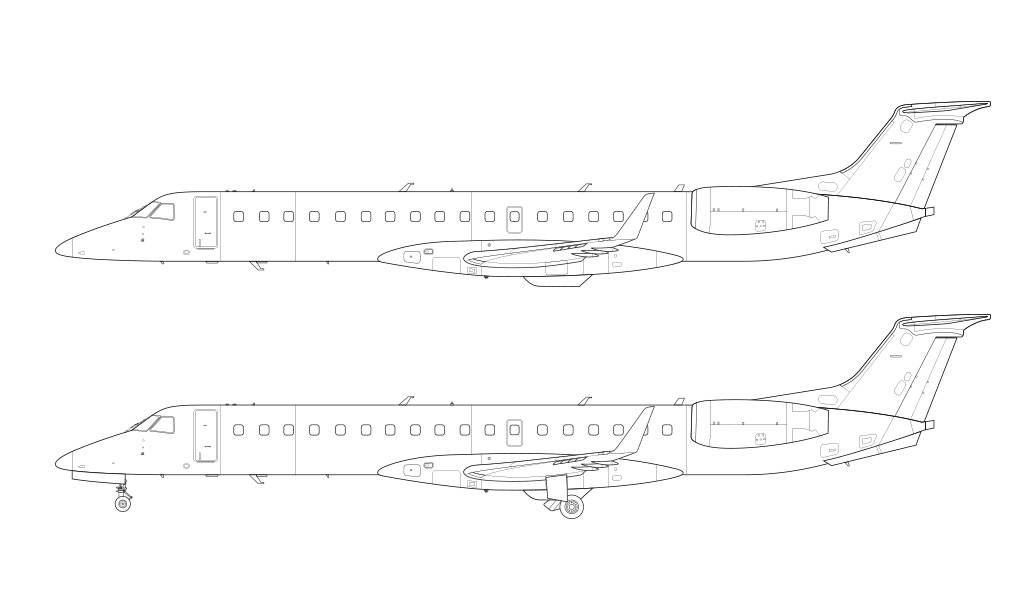 ERJ-145XR line drawing side view