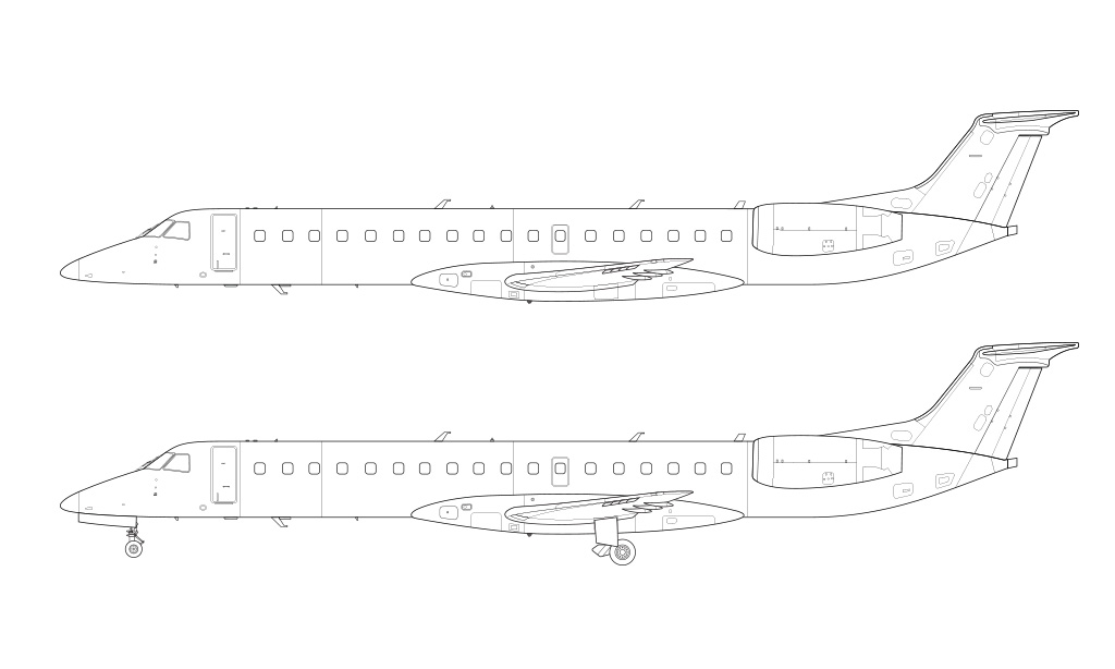 ERJ-145 base model side view blueprint