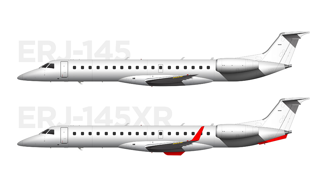 visual differences between ERJ-145XR and ERJ-145
