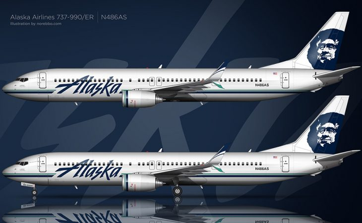 alaska Airlines Boeing 737-990/ER in the 2015 updated livery