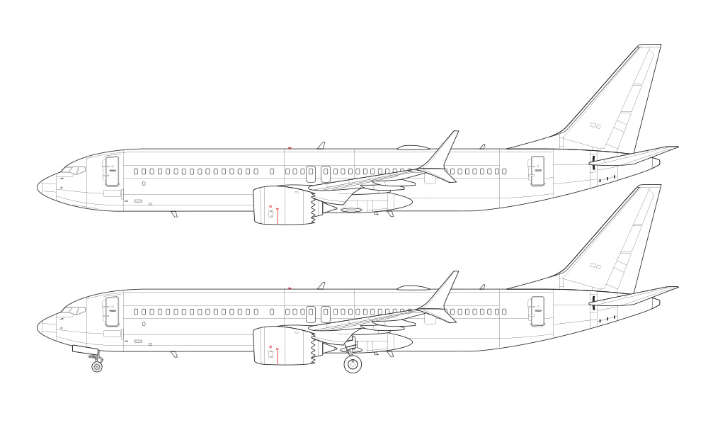 737 MAX 9 line drawing blueprint