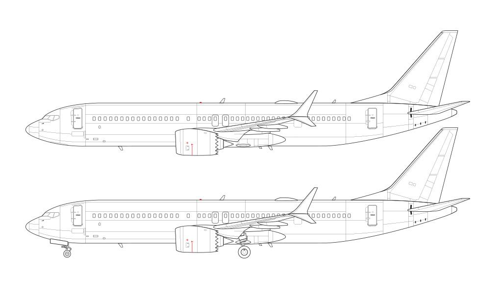 737 MAX 9 line drawing blueprint