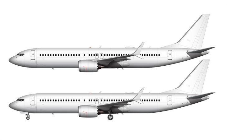 737 MAX 9 all white side view