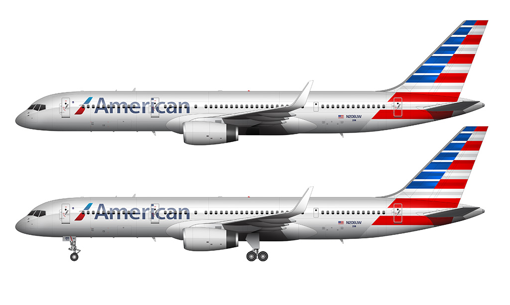American Airlines 757-200 side profile