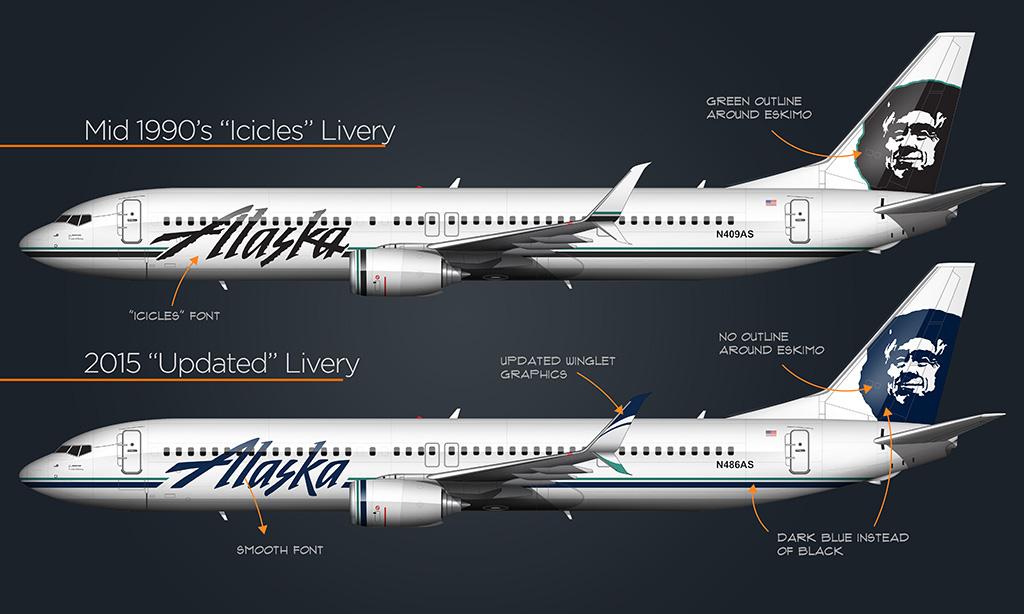 alaska airlines livery comparison