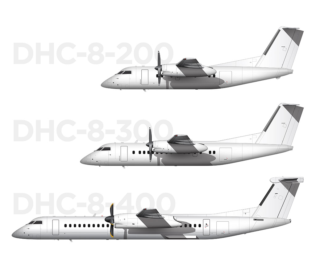 Visual comparison between the Dash 8 -200, -300, and -400