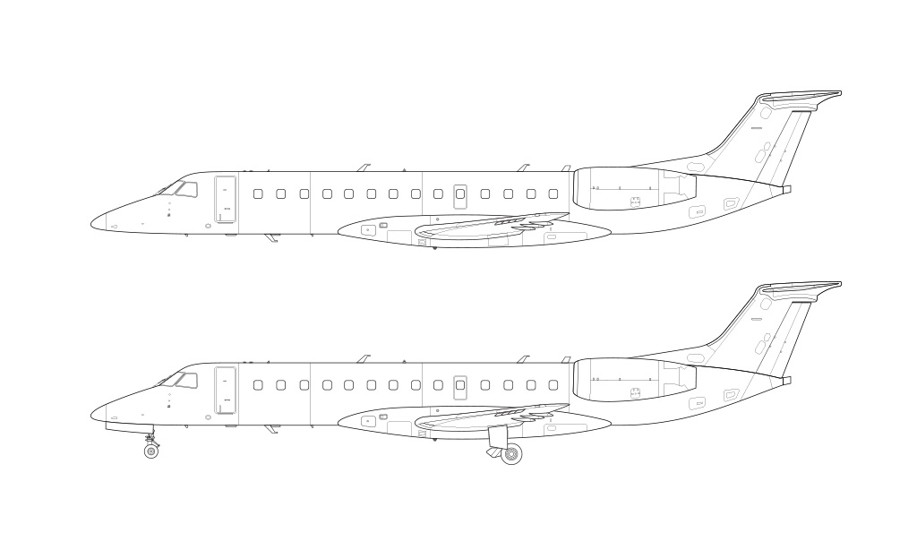 ERJ-135 blueprint line drawing