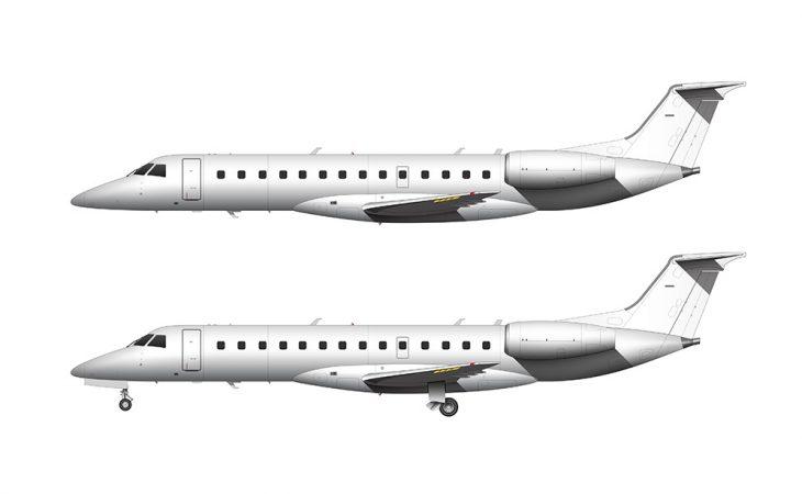 ERJ-135 side view all white