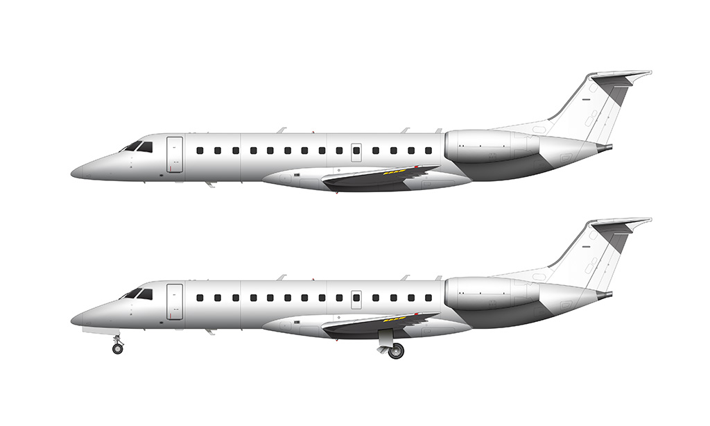 ERJ-135 side view all white