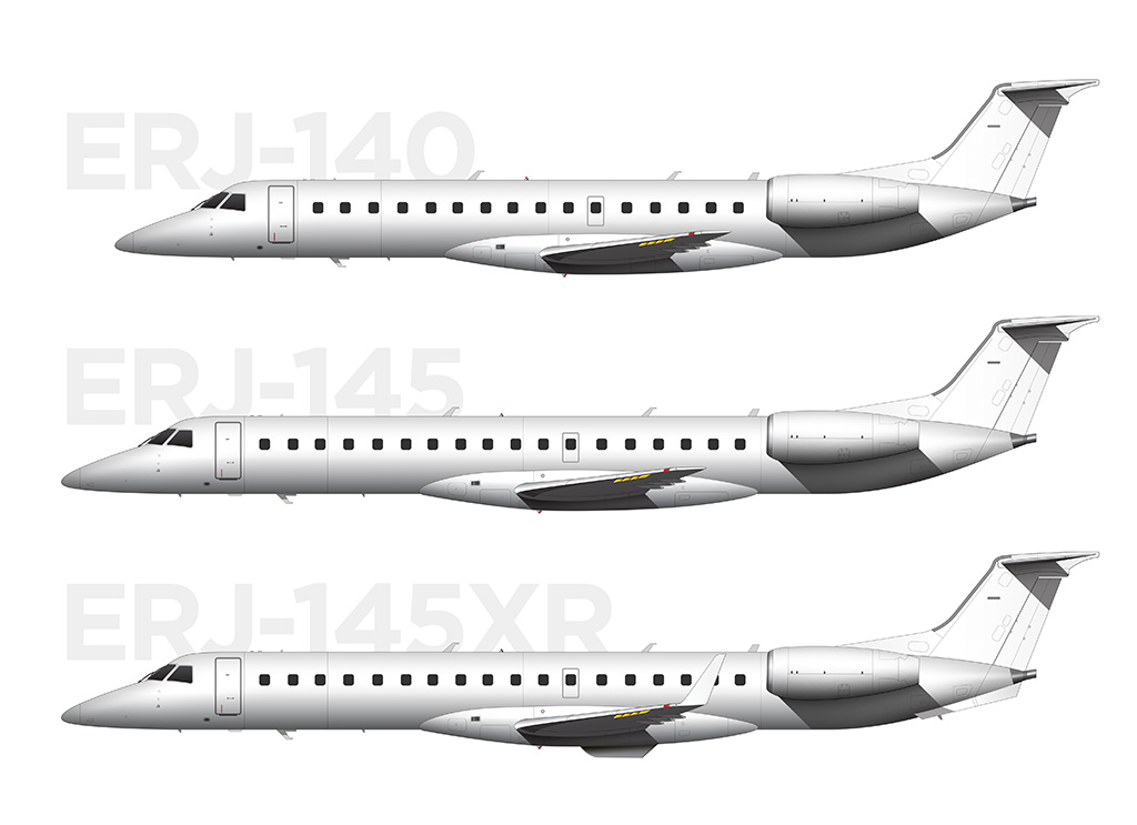 ERJ-145XR, ERJ-145, and ERJ-140 comparison