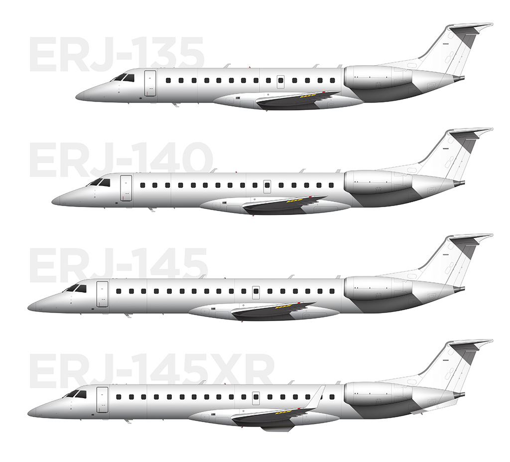 Visual differences between the ERJ family of aircraft