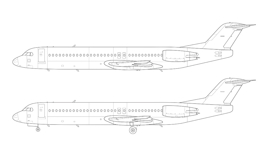 fokker 100 technical drawing