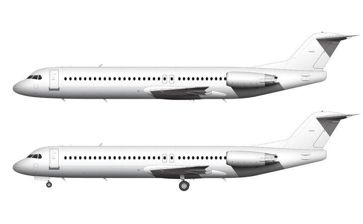all white fokker 100 side view