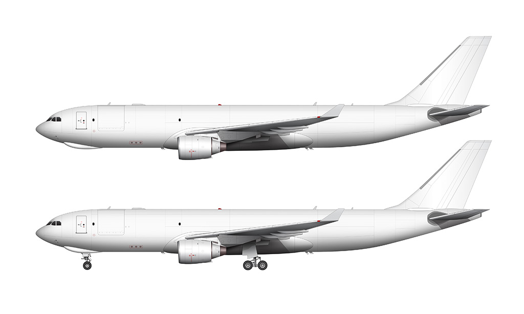 A330-200F Pratt & Whitney side profile