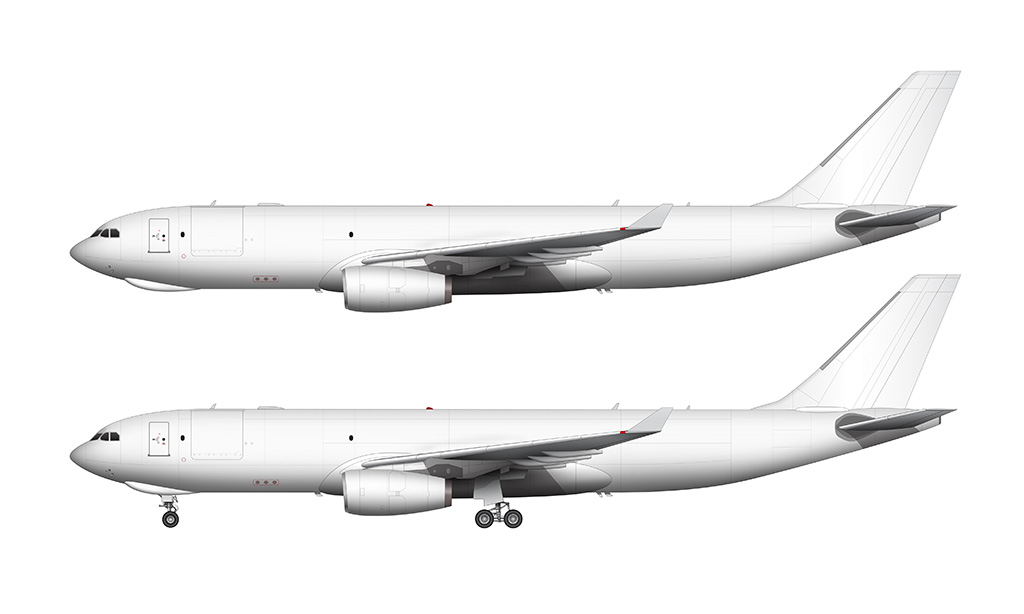 A330-200F with Rolls Royce engines side profile