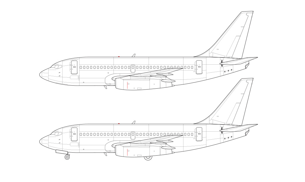 737-200ADV detailed tech drawing