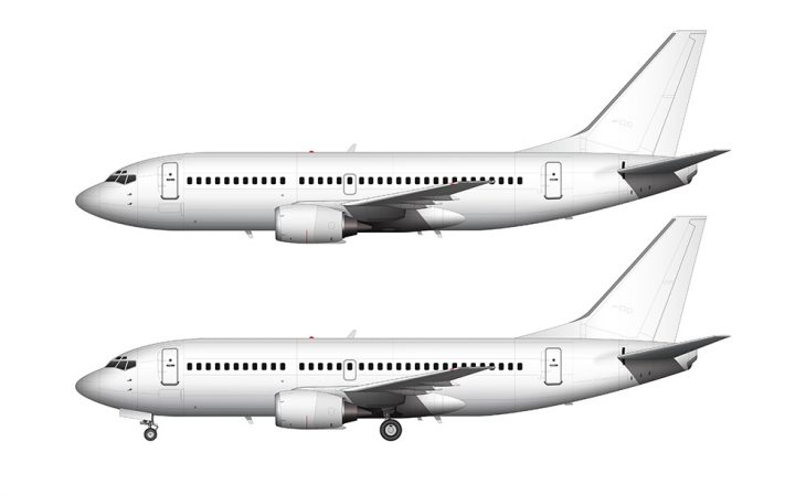 Boeing 737-300 all white blank