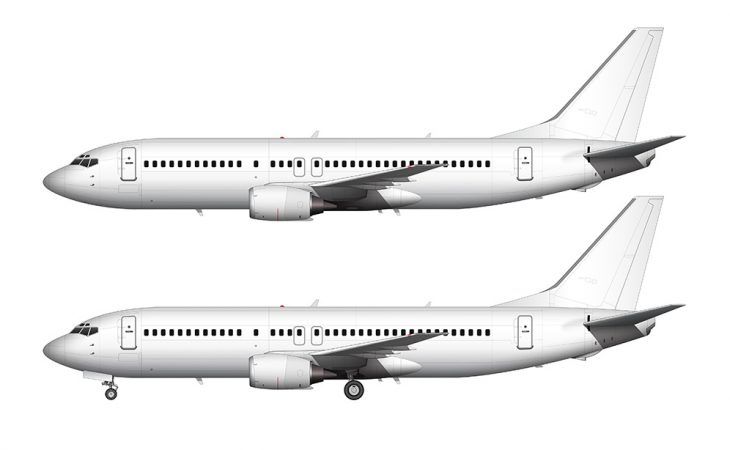 737-400 all white side view
