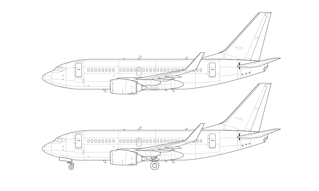 737-500 with blended winglets blueprint