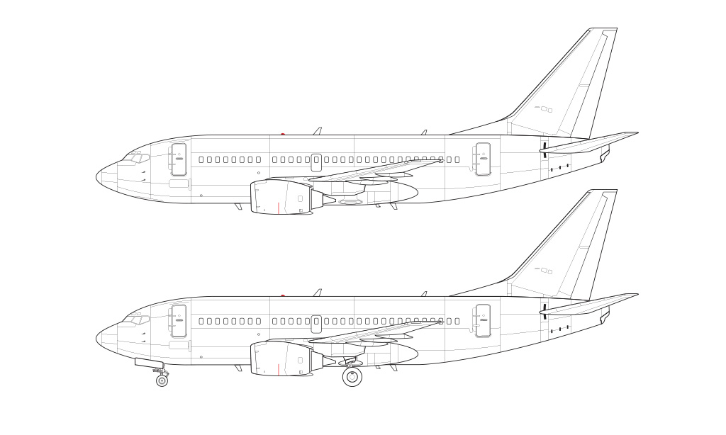 737-500 blueprint no winglets