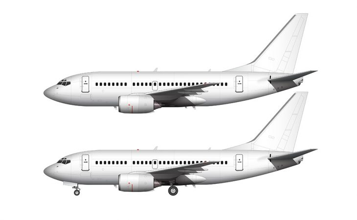 boeing 737-600 side view all white no livery