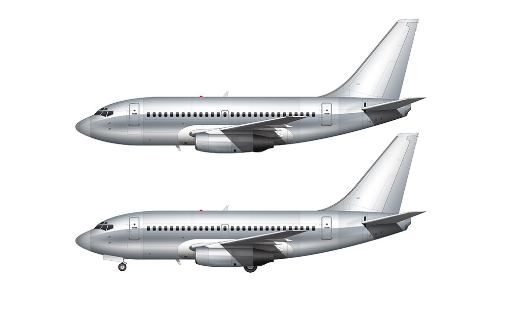 Bare aluminum Boeing 737-100 side view