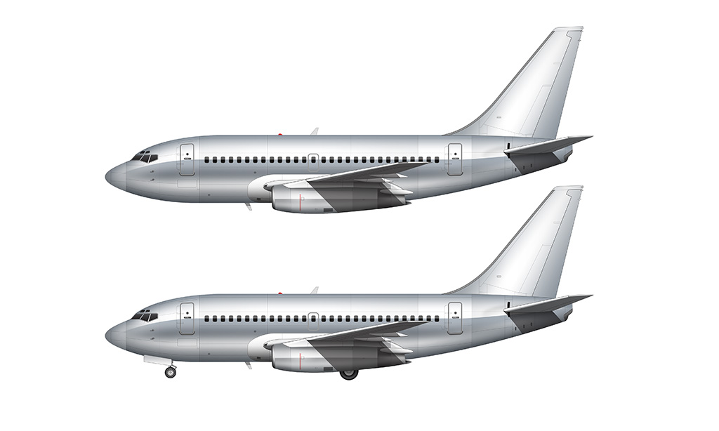 Bare aluminum Boeing 737-100 retrofit side view