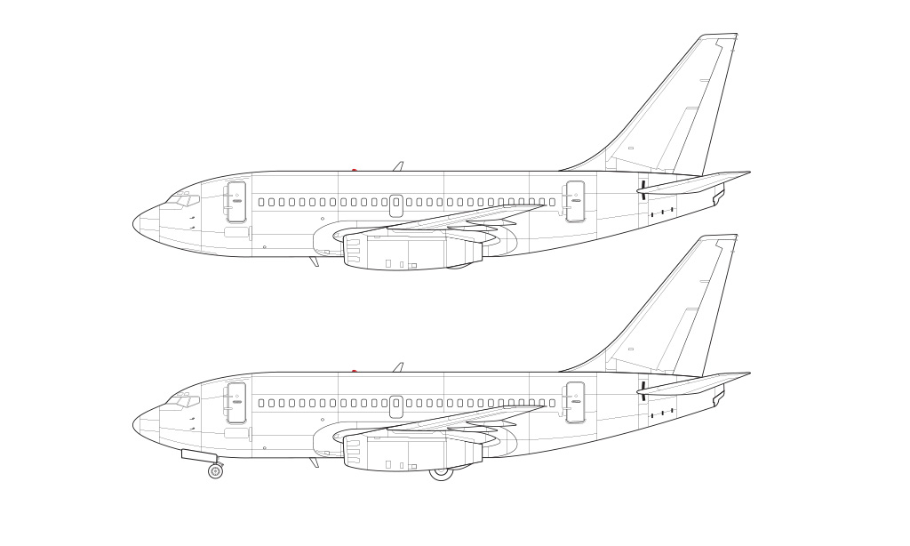 737-100 blueprint technical drawing