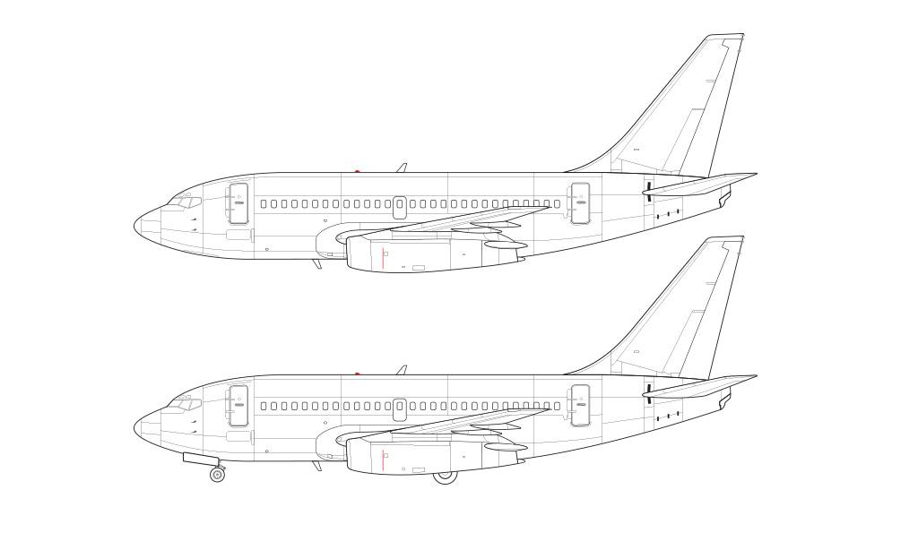 retrofitted thrust reversers 737-100 technical drawing