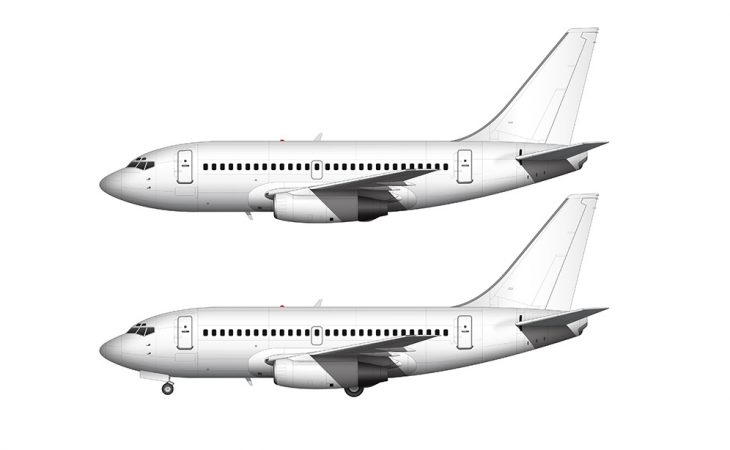 737-100 all white side view