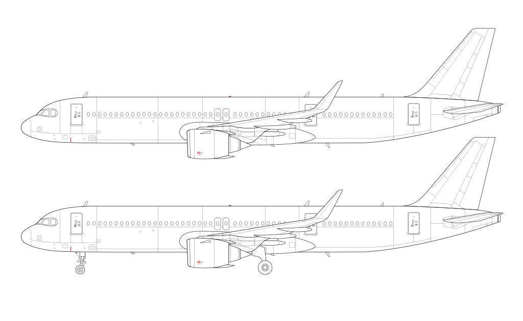 A321neo LR with CFM LEAP 1A engines side view blueprint