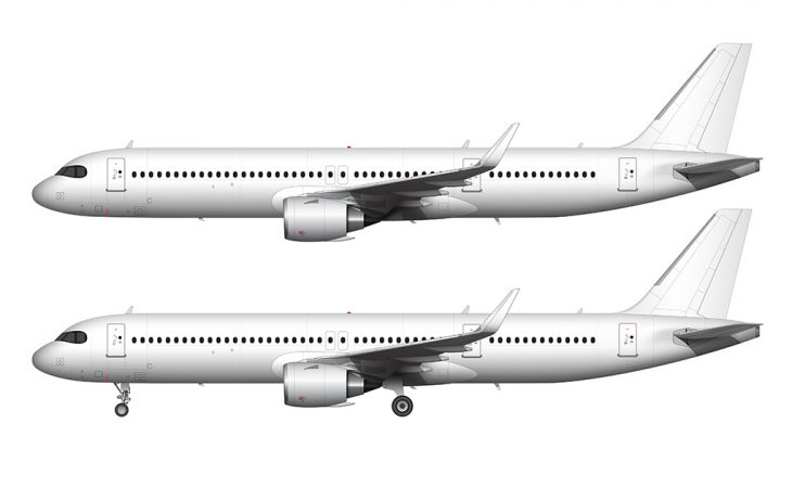 A321neo LR side view template