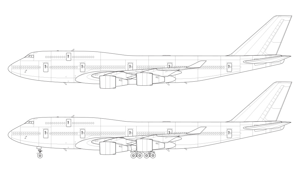 Boeing 747-400 with Pratt & Whitney engines side view blueprint