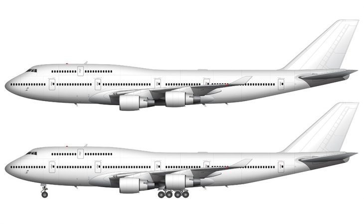 Boeing 747-400 with Pratt & Whitney engines side view