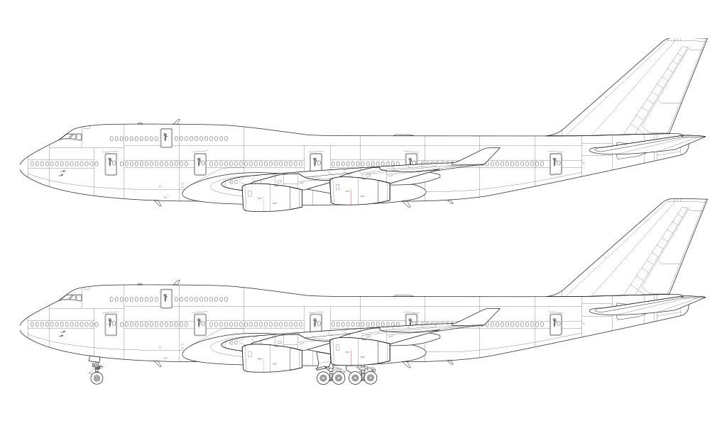 Boeing 747-400 with Rolls Royce engines side view blueprint