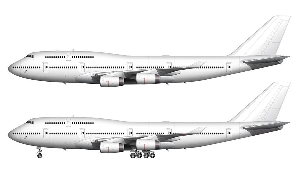 Boeing 747-400 with Rolls Royce engines side view