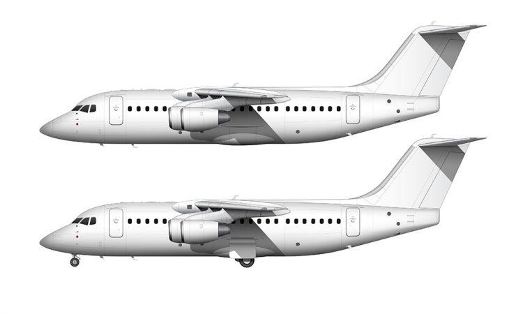 BAe 146-200 / Avro RJ85 side view