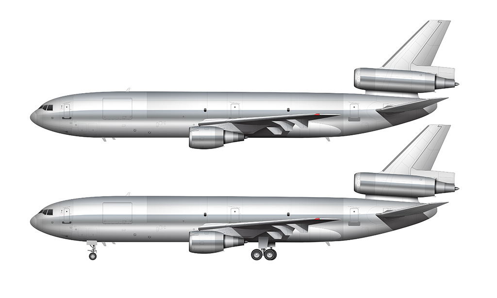 bare aluminum DC-10 / MD-10 side profile